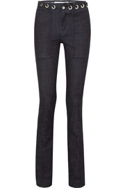 Victoria, Victoria Beckham Eyelet-embellished high-rise bootcut jeans