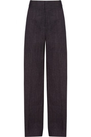 Cotton and linen-blend pants