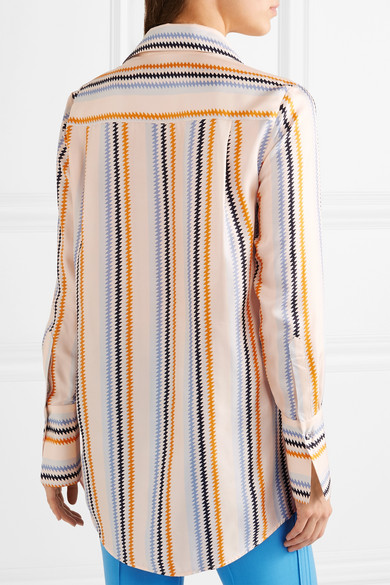 Victoria, Victoria Beckham Gestreiftes Hemd aus Seidensatin