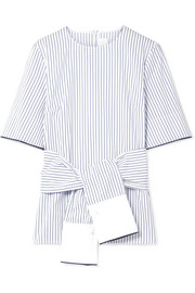 Victoria, Victoria Beckham Tie-front satin-trimmed striped cotton-poplin top