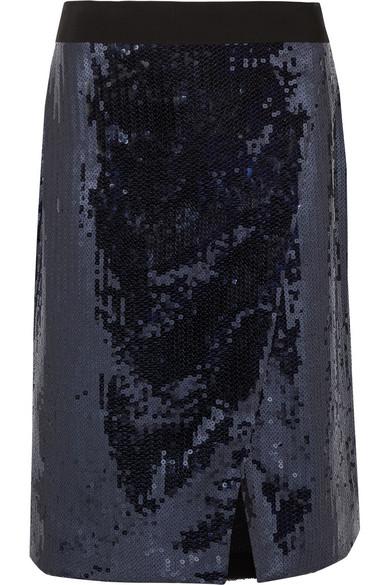 Victoria, Victoria Beckham Paillettenverzierter Rock aus Chiffon in Wickeloptik