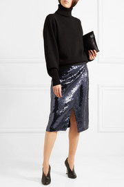 Sequined chiffon wrap-effect skirt
