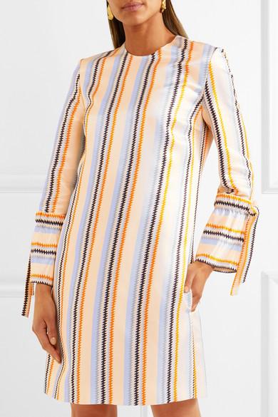 Victoria, Victoria Beckham Gestreiftes Kleid aus glänzendem Twill