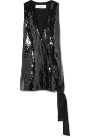 Victoria, Victoria Beckham Wrap-effect silk satin-trimmed sequined crepe top