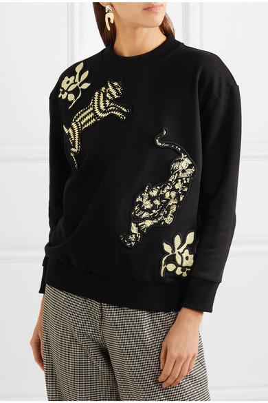 Victoria, Victoria Beckham Sweatshirt aus Baumwollfrottee mit Applikationen