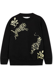 Victoria, Victoria Beckham Appliquéd cotton-terry sweatshirt