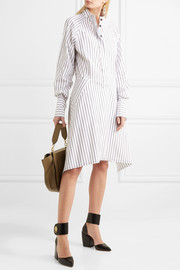 Distressed striped cotton dress