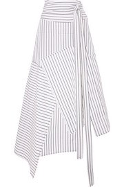 JW Anderson Asymmetric striped cotton midi skirt