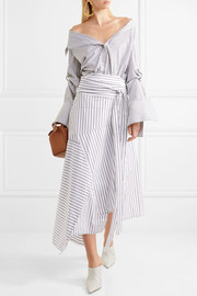 Asymmetric striped cotton midi skirt