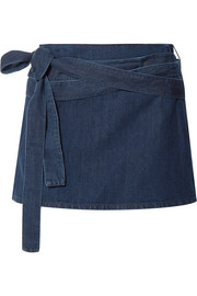 JW Anderson Leather-trimmed denim mini skirt