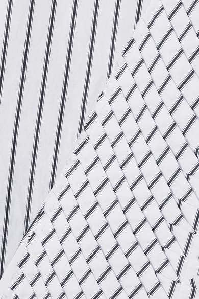 JW Anderson Gestreiftes Hemd aus Baumwollpopeline mit Schluppe und Falten