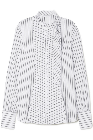 Pleated-panel striped-cotton shirt J.W.Anderson Buy Cheap Low Price Fee Shipping 53M6uNuHt