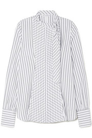 JW Anderson Tie-neck pleated striped cotton-poplin shirt