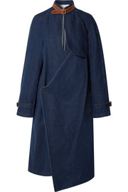 Leather-trimmed cotton and linen-blend denim coat