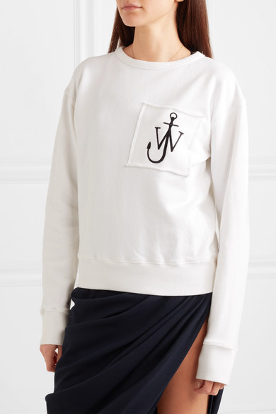 JW Anderson Besticktes Sweatshirt aus Baumwoll-Jersey mit Fransen