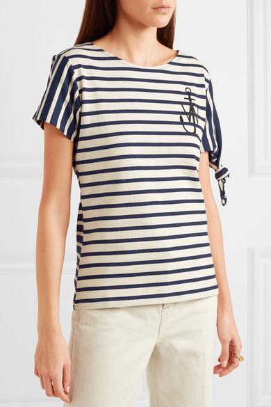 JW Anderson Bedrucktes T-Shirt aus gestreiftem Baumwoll-Jersey