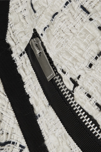 Sacai Bomberjacke aus Tweed mit Ripsband- und Chiffonbesätzen