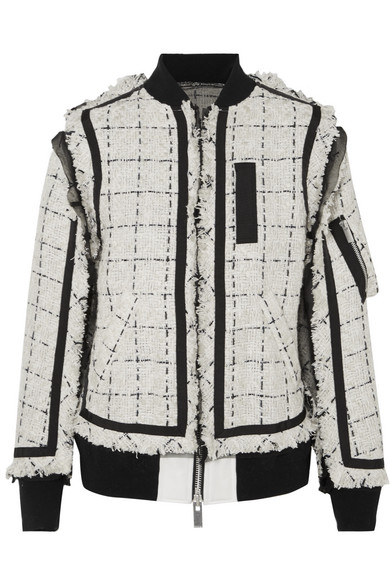Sacai - Grosgrain And Chiffon-trimmed Tweed Bomber Jacket - Ivory