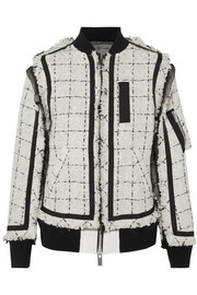 Sacai Grosgrain and chiffon-trimmed tweed bomber jacket