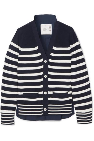 Sacai - Striped Cotton And Poplin Cardigan - Navy