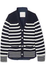 Sacai Striped cotton-knit and poplin cardigan