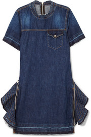 Zip-embellished denim dress