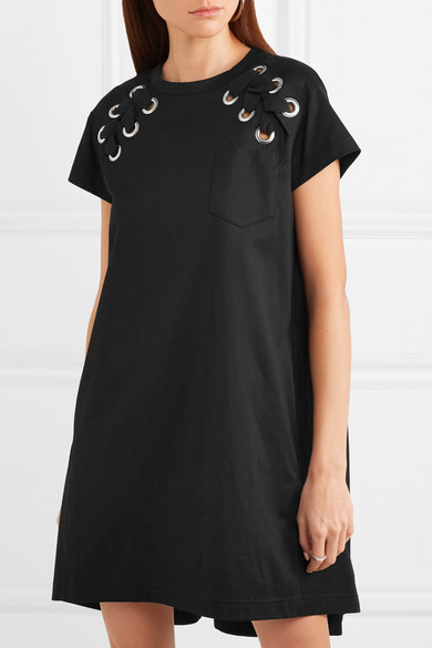 Sacai Mini Dress Constrictions In Cotton-jersey With