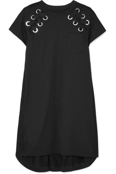 Sacai - Lace-up Cotton-jersey Mini Dress - Black