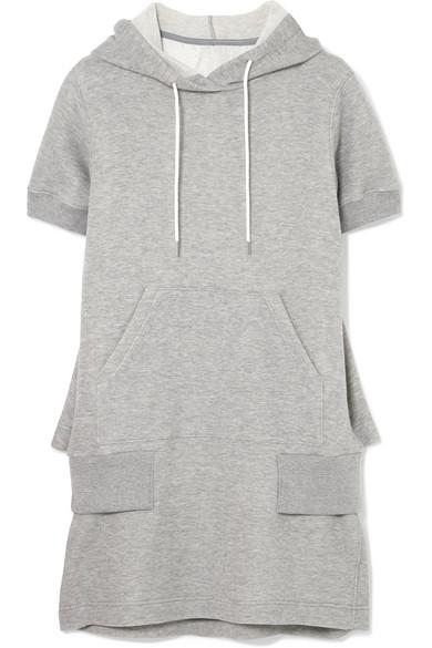 Sacai - Hooded Cotton-blend Jersey Dress - Light gray
