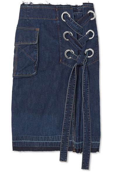 Sacai - Lace-up Frayed Denim Skirt - Dark denim
