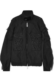 Velvet-trimmed chiffon and lace bomber jacket