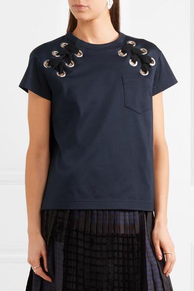 Sacai T-Shirt aus Baumwoll-Jersey mit Schnürdetails