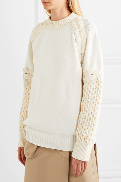 Sacai Zweifarbiger Pullover aus einer Baumwollmischung