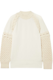 Two-tone paneled cotton-blend sweater