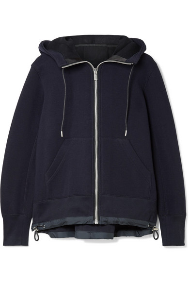 Sacai - Shell-trimmed Cotton-blend Hooded Top - Midnight blue