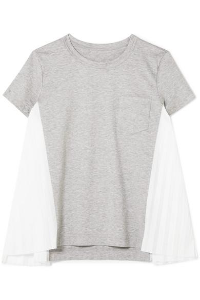 Sacai T-Shirt aus Baumwoll-Jersey mit plissierten Einsätzen aus Popeline