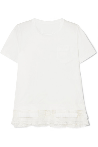 Sacai - Lace, Pleated Poplin And Satin-trimmed Cotton-jersey T-shirt - White