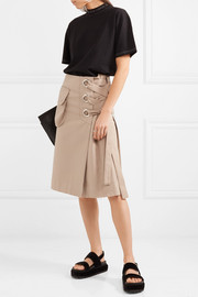 Lace-up cotton-twill skirt