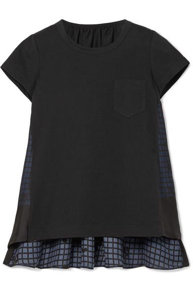 Sacai - Cotton-jersey And Printed Satin Top - Black