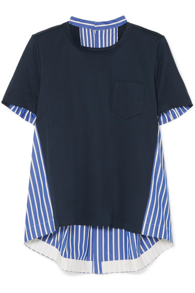 Sacai - Striped Cotton-poplin And Cotton-jersey Top - Navy