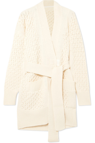 Sacai - Belted Cable-knit Cotton-blend Cardigan - Ecru
