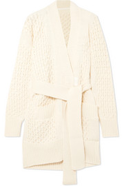 Belted cable-knit cotton-blend cardigan