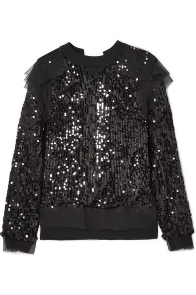 Sacai Sweatshirt aus Jersey und Chiffon mit Pailletten und Rückenausschnitt