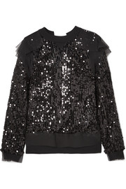 Open-back sequined jersey and chiffon sweatshirt