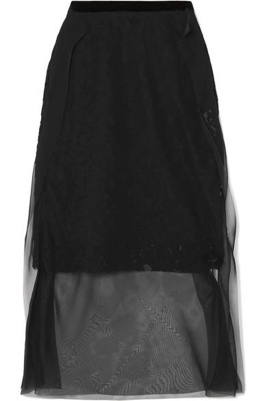 Sacai - Layered Chiffon And Guipure Lace Skirt - Black