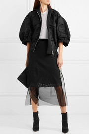 Layered chiffon and guipure lace skirt
