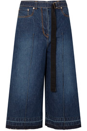 Grosgrain-trimmed denim culottes