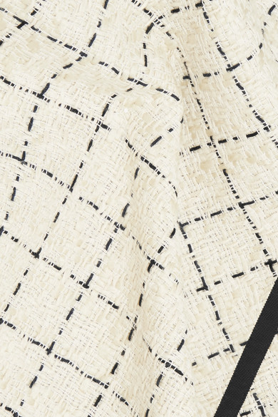 Sacai Karierter Midirock aus Tweed mit Organzaeinsatz