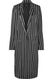 Striped matte-satin coat