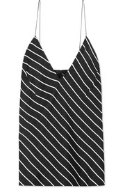 Striped crepe de chine camisole